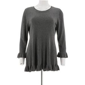Isaac Mizrahi 3/4 Sleeve Peplum Sweater Ruffle Hem
